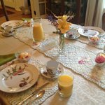 Early Spring Breakfast with flowers from our yard.
