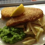 haddock and chips with peas