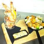Pint of prawns and chilli and coconut tempura prawns