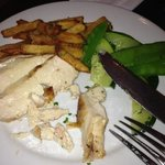 children's grilled chicken and veggie dish with fries