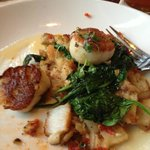Scallops with crab potato hash and sauted spinach