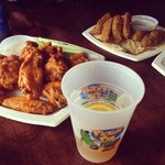 mild wings and beer battered pickles Samuel Adams summer beer
