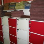 Clothes lockers and towels etc