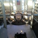 Lobby from Glass elevator on 5th floor (Pool under the flag)