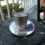 Mint julep served on the veranda