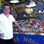 Petros with the fresh fish offer on ice!