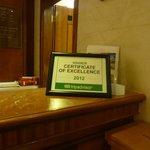 Certificate on the reception desk