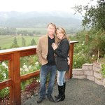 Official engagement photo overlooking Napa Valley from Rombauer gardens