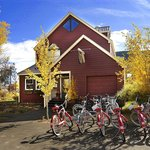 Exterior of The Ruby in the Autumn with Townie Bikes