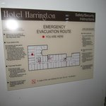 Hotel diagram with location of room 602 indicated by red dot