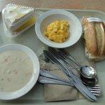 Soggy roll, cold macaroni, meringue was good