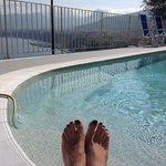 vista desde la piscina del hotel que se encuentra al lado del lugar de desayuno