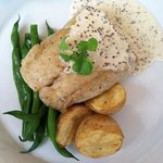 filet of Cobia, crispy baby potatoes, organic green beans, whole grain mustard sauce