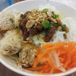 Loved the dry noodles with spring rolls and pork