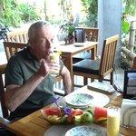 Enjoying the breakfast