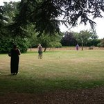 Playing croquet on the lawn