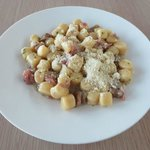 Gnocci with mushrooms and Parma ham