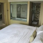 Great bed and toilet area