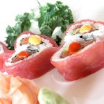 Sweetheart Roll: Spicy tuna and avocado roll wrapped with fresh tuna in a heart shape