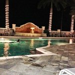 resort pool at night.