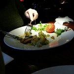 spotlight on the food.