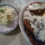 Julia's Double Decker Schnitzel and Cheese Sauce with German Potato Salad.