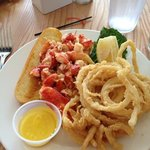 lobster roll with awesome fried union rings about $18