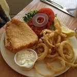 fish sandwich with onion ring