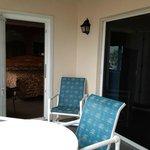 Patio in unit #308 Smaller door leads to master bedroom & sliding doors leading to living room