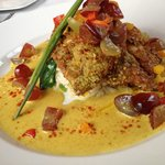 Pistachio crusted Sole in curry sauce with grapes