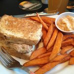 Half Tuna Melt Sandwich with Sweet Potato Fries