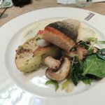 Salmon filet with potato and vegetable medley