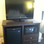 Flat Panel TV with mini fridge and microwave
