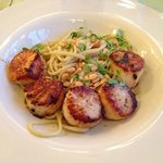 Divers sea scallops over lemon basil pasta.
