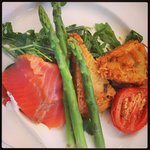 Brunch - smoked salmon, home made hash browns, asparagus ...delish!