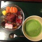 the anmitsu with macha tea