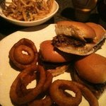 truffle fries and original sliders with a side of onion rings