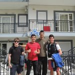 A picture in front of Niriis with the hotel owner, George.