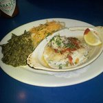 Stuffed flounder, garlic and cheese makes potatos, creamed spinache.