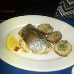 Roasted potatos, stuffed trout.