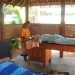 Enjoying an ayurvedic massage