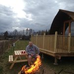 every wigwam comes with a bench and fire pit