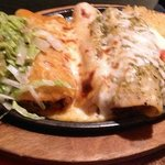 Sizzlin' Enchiladas with cheese, chicken and steak...yum!