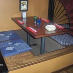 seating near the sushi roll area