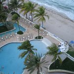 view of pool, beach and lazy river