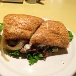 Solly's Breakfast Sandwich-Egg, Bacon, Lettuce, Onion on Grilled Pillow (French Bread)