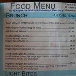 Selection of veg items on brunch menu