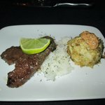surf and turf (steak and crabcake)