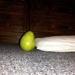 this is how Thick the Pillows are (compared to a Small Pear) No, u cannot ask for an extra pillo