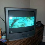 TV (widescreen) KIDDING! It only has half a screen, on a 19 inch old style. No remote control ei